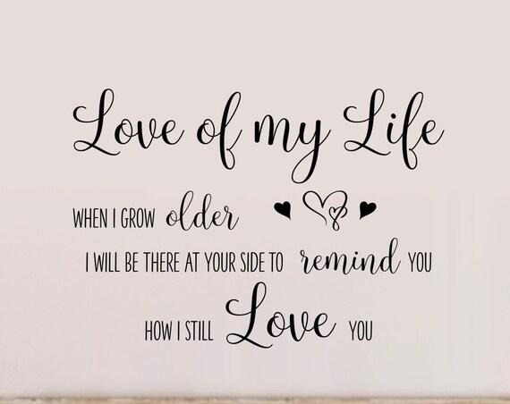 Love of My Life Song Lyrics Bedroom Wall Decal Freddie Mercury