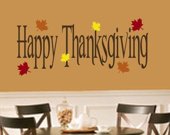 Happy Thanksgiving with Leaves Vinyl Wall Decal