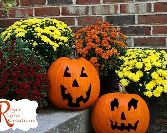 Pumpkin Face Decals Set of 8 Mix and Match Pumpkin Face Halloween Pumpkin Decals