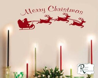 Christmas Decal with Santa's Sleigh Vinyl Wall Decal HS5 for Window, Wall, Door Christmas Decoration Christmas Decor Christmas Wall Decal