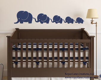 Nursery Decals-Elephant Family 5 Elephants Decal, Nursery Elephant Wall Decal, Baby Boy or Baby Girl Wall Decal- Nursery Wall Decals