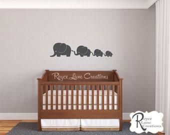 Cute Baby Elephant Wall Decals- 4 Elephant Nursery Decals- Elephant Nursery Wall Decals- Elephant Wall Decal- Baby Elephant Wall Decals