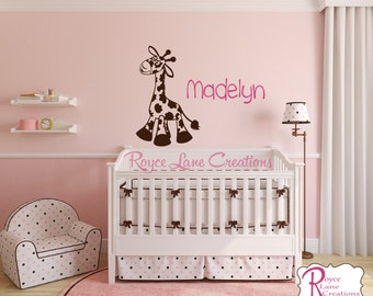 Personalized Name and Giraffe Decal N33 A-B Nursery Giraffe Wall Decal