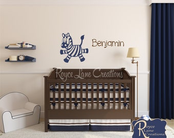 Zebra with Personalized Name N31 Nursery Wall Decal