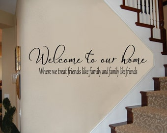 Welcome to Our Home Where We Treat Friends Like Family and Family Like Friends Welcome Wall Decal