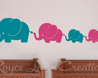 Twins Wall Art- Twins Nursery Wall Art 4 Elephant Family 2 Colors with Twin Baby Elephants N47 Nursery Decor Nursery Wall Decal