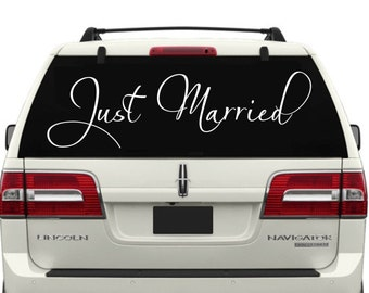 Just Married Car Window Decal Style 8