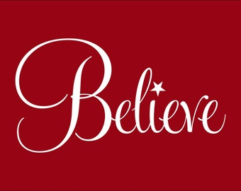 Believe with Star Sticker for Glass Block or Wall Christmas Decoration