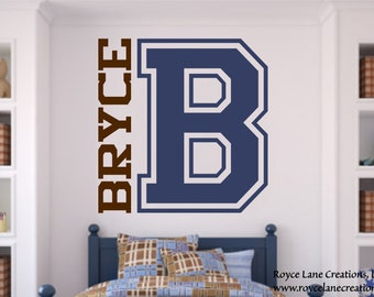 Custom Varsity Letter Decal with Personalized Name and Initial for Teen Bedroom Wall Decal