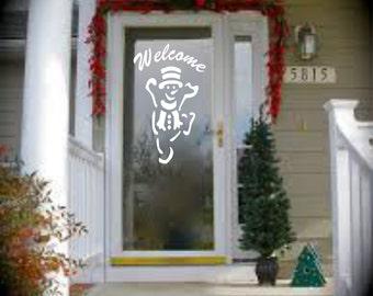 Front Door Decal - Welcome with Snowman Vinyl Decal - Welcome Decal - Welcome Door Decal - Welcome Sign