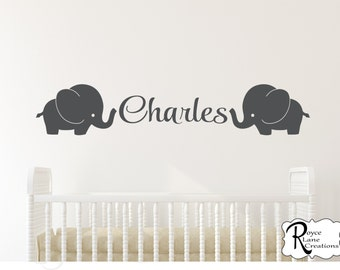 Elephant Nursery Decal with Personalized Name