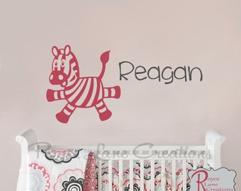 Personalized Name with Zebra N25 Nursery Wall Decal