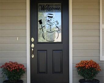 Welcome Decal - Front Door Decal - Welcome with Snowman #2  HS11 -Welcome Door Decal -Welcome Sign -Welcome Decal for Door-Winter Door Decal