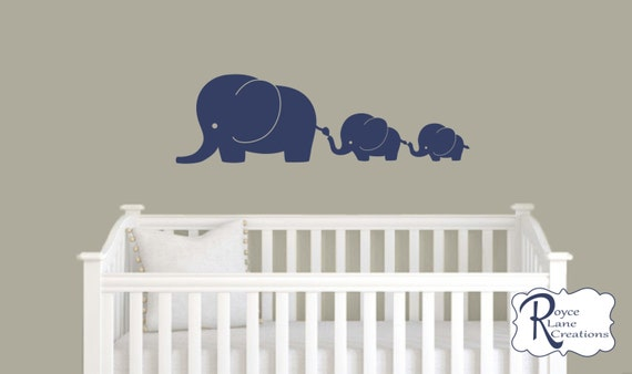 Elephant Nursery Decal with 3 Elephants
