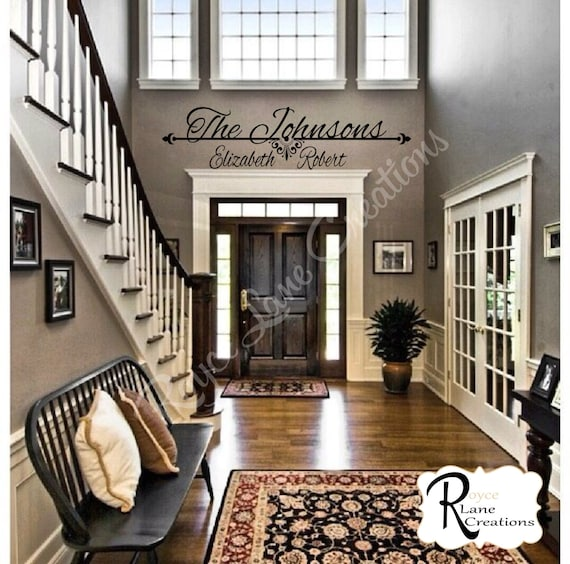 Personalized Family Name 2 Decal  - Personalized Vinyl Last Name Wall Decal for Foyer Entry Way Living Room Family Name Sign