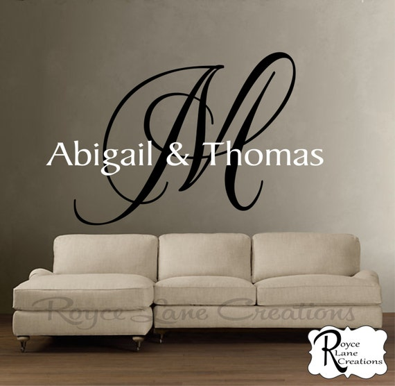 Personalized Name Sign Initial Monogram 1- Master Bedroom Decor - Wedding Decor Dance Floor Decal Wall Art