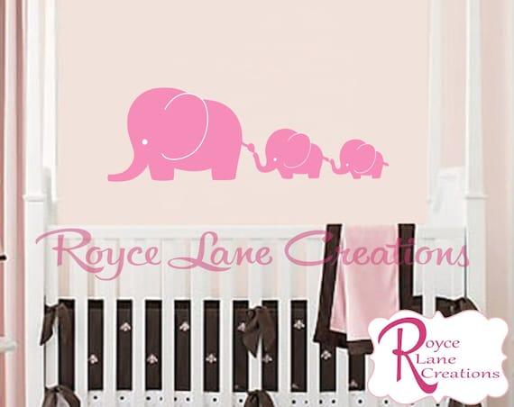 3 Elephants Decal Elephant Nursery Wall Decal