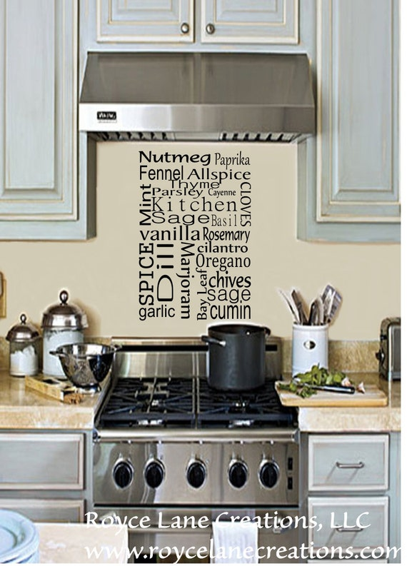 Kitchen Wall Decal -Kitchen Spice Vinyl Wall Decal- Kitchen Decal - Kitchen Decor-Kitchen Art Kitchen Wall Decor-Kitchen Wall Decor