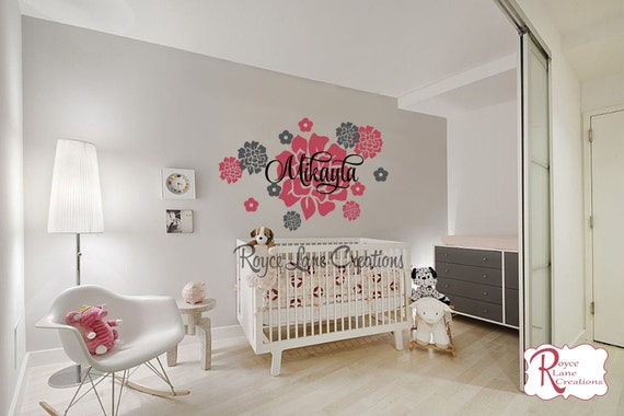 Peony Flowers with Personalized Name Wall Decal For Girls Nursery