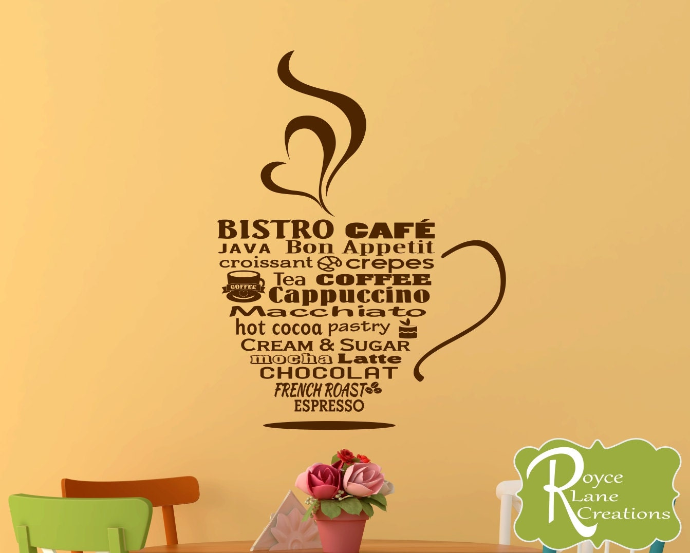 Kitchen Wall Decal- Bistro Cafe Bistro Sign Coffee Word Art Coffee ...