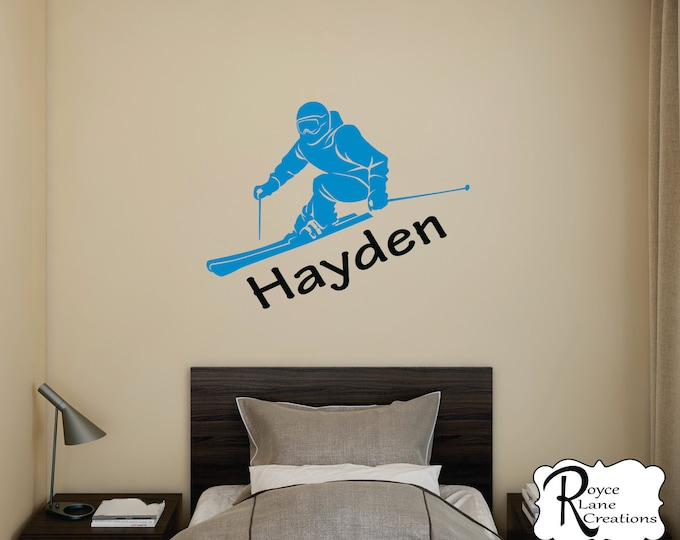 Ski Decal with Personalized Name