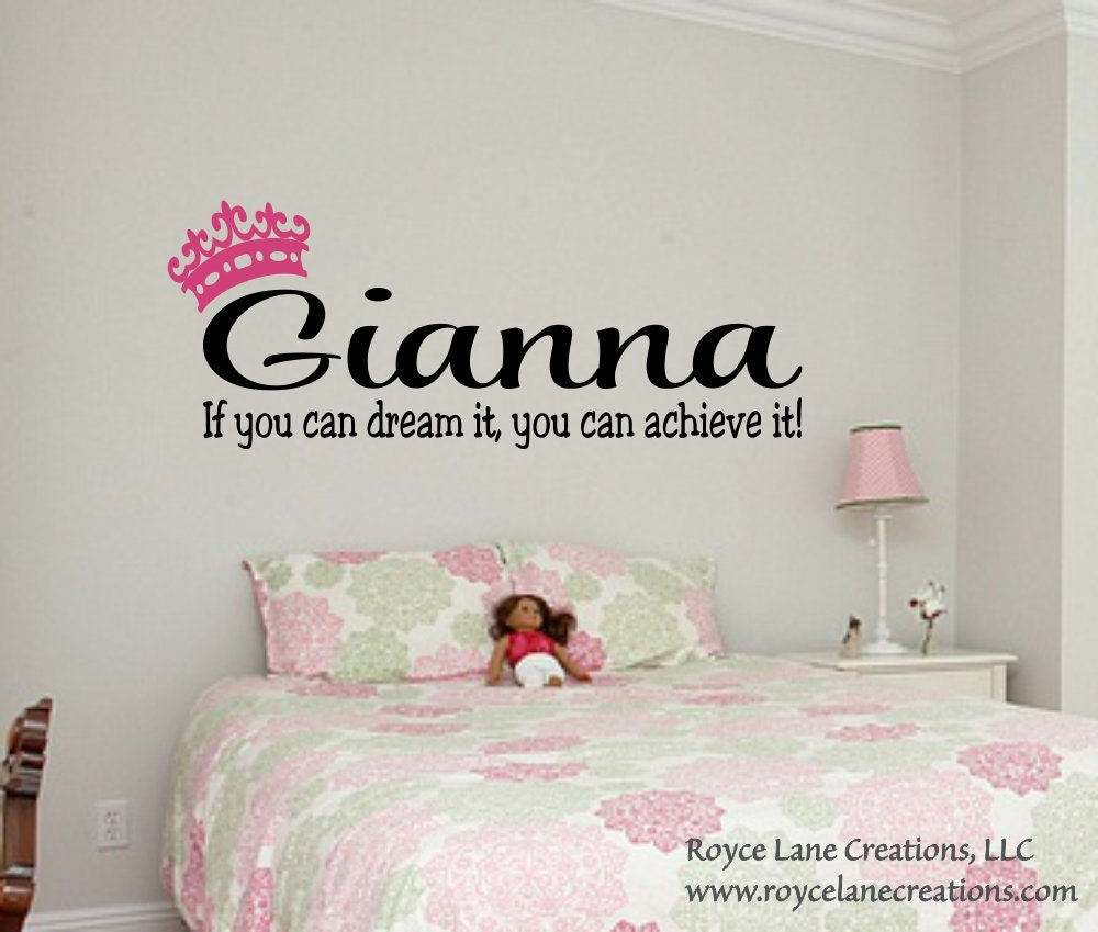 If You Can Dream It Personalized Name Teen Girl Bedroom Wall Decal B40   Bedroom  Wall Decal  Bedroom Decal  Teen Girl Bedroom Decor