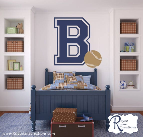 XLG Varsity Letter Decal with Initial and Baseball- Baseball Decal- Baseball Decal-Baseball Wall Decal-Baseball Decor-Baseball Wall Decor