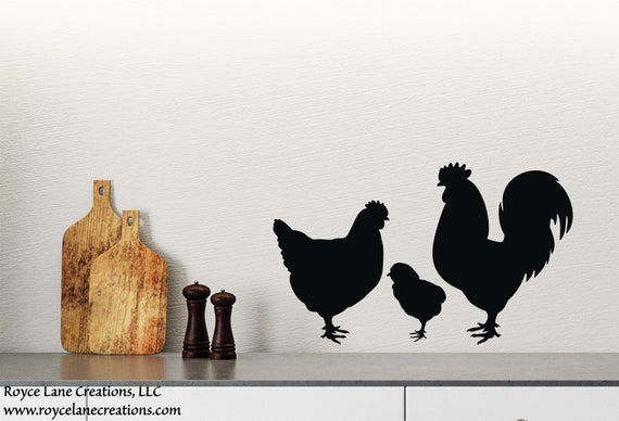 Rooster Chicken and Chick Decal