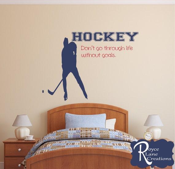 Hockey Decal Hockey Player Wall Decal Sports Vinyl Wall Decal | Etsy