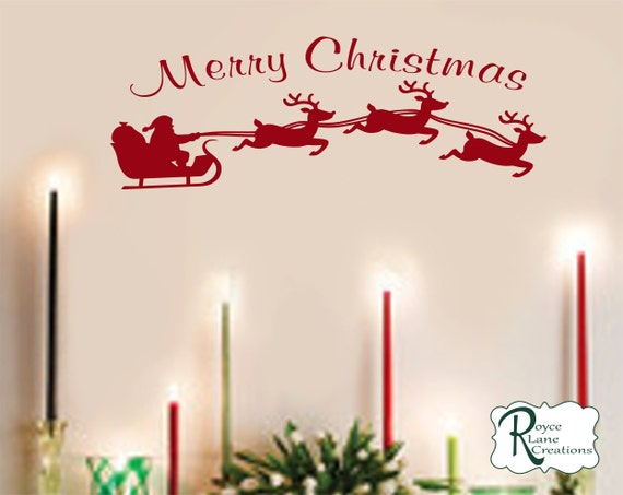 Merry Christmas with Santa's Sleigh and Reindeer Decal for Window, Wall, Door Christmas Decoration