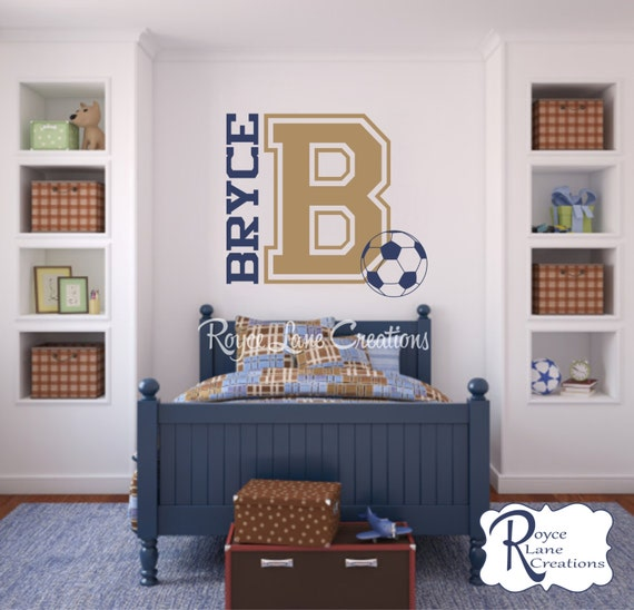 Varsity Letter Decal with Personalized Name, Initial, and Soccer Ball Teen Bedroom Wall Decal