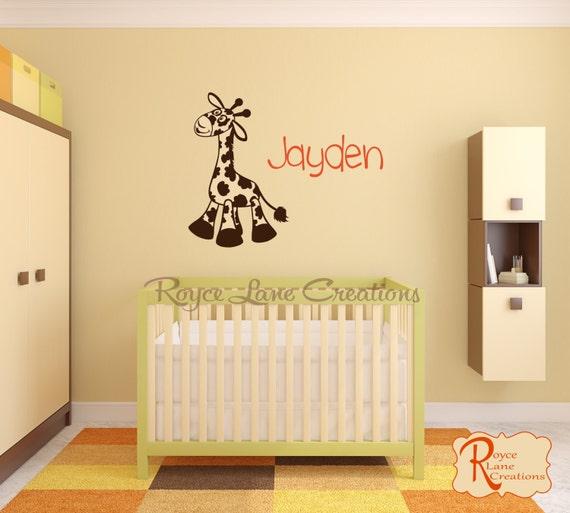 Personalized Name and Giraffe Decal N26 A-B Nursery Giraffe Wall Decal