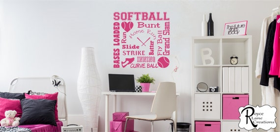 Softball Wall Decal Softball Word Art 2 for Girls Room