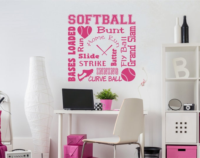 Softball Wall Decal Softball Word Art 2 for Girls Room Teen Girl Bedroom Teen Room Decor Softball Wall Decal for Girls Bedroom