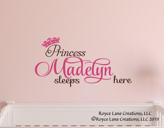 Crown /& Personalised Name Foil Print Baby Nursery Room Wall Art Custom Signs