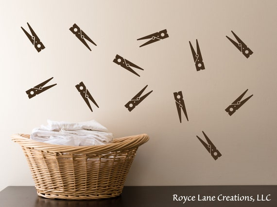 Clothespins Wall Decals - Set of 12 Clothes Pins