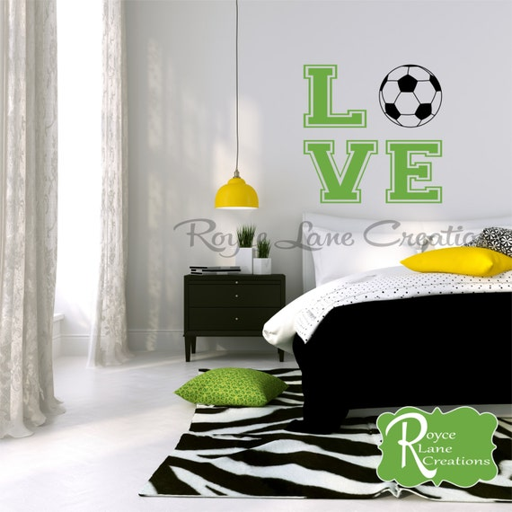 Varsity Letter Collegiate Soccer Ball Wall Decal for Girls Bedroom