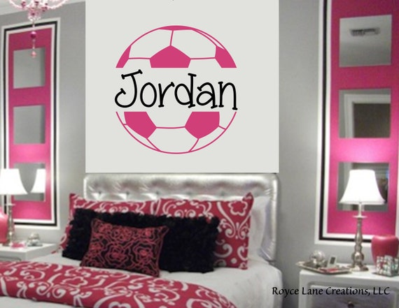 Soccer Ball Soccer Wall Decal for Girls Room Teen Girl Bedroom Teen Room  Decor Soccer Ball with Personalized Name for Girls Bedroom
