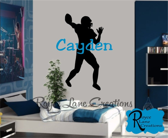 Football Player Wall Decal with Personalized Name for Teen Boys Bedroom