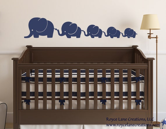 Nursery Decals-Elephant Family 5 Elephants Decal