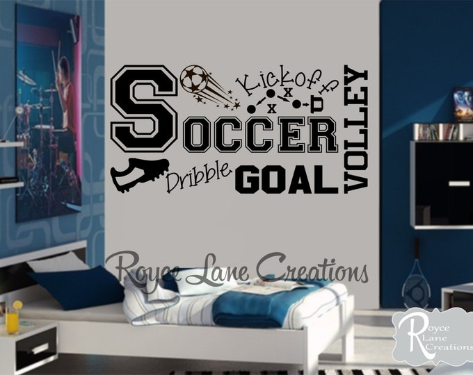Soccer Wall Decal for Boys Room B36 Teen Boy Bedroom Teen Room Decor Soccer Word Art for Boys Bedroom