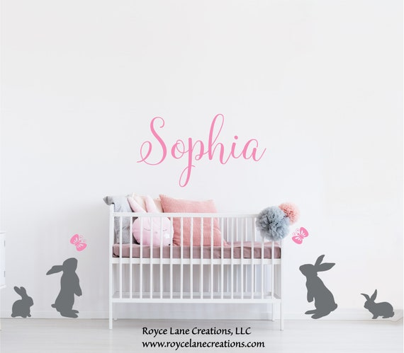 Bunny Name Decal with Butterflies and Personalized Name for Baby Girl Nursery