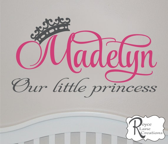 Our Little Princess Personalized Baby Girl Nursery Wall Decal