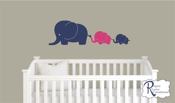 3 Elephant Family in 2 Colors Nursery Wall Decal
