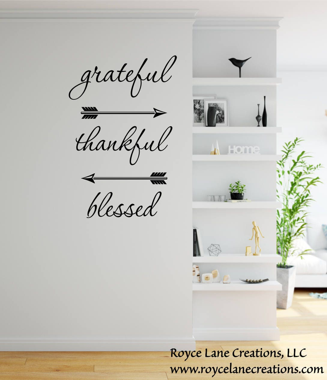 Grateful Thankful Blessed Wall Decal Dining Room Decor