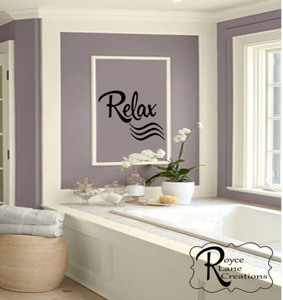 Relax Vinyl Wall Decal for Bathroom, Bedroom, or Spa