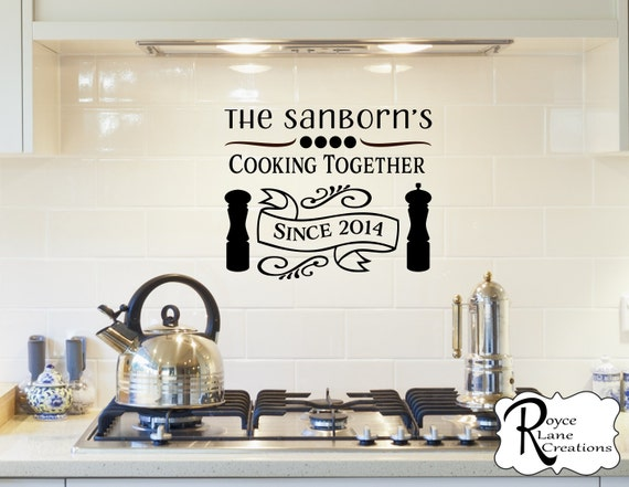 Cooking Together Personalized Kitchen Wall Decal