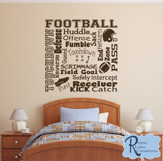 Football Wall Decal Football Word Art 2  Varsity Letter Decal Sports Vinyl Wall Decal Football Boys Room Teen Boy Room Decor Football Decor