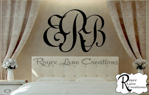 Initial Monogram Personalized Initial Monogram #1 B2 Initial Monogram Wall Decor -3 Initial Monogram-Monogram Decal- Bedroom Wall Decal