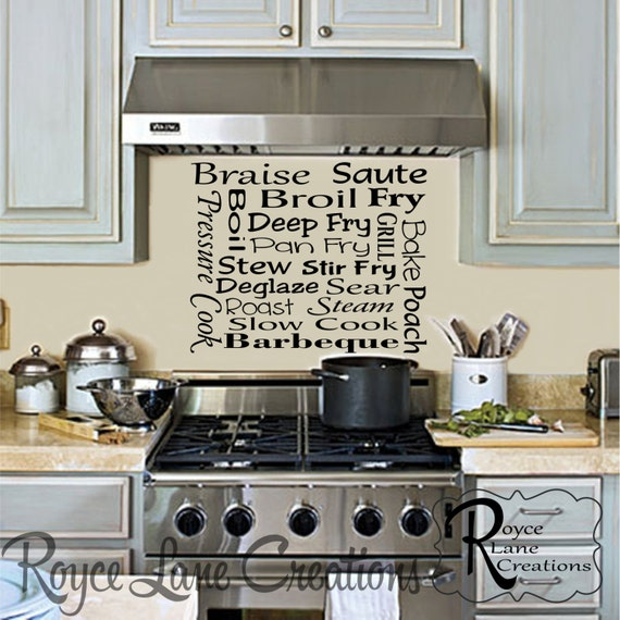 Kitchen Subway Art- Cooking Methods Kitchen Wall Decal
